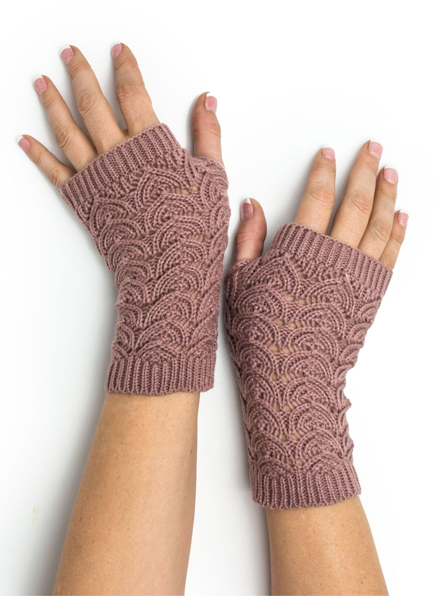 Armwarmers - Maeve Scallop Open Lace Crochet Pattern Fingerless Gloves / Armwarmers -(Mauve) Bohomonde  - 1