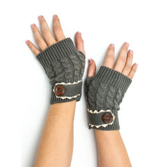 Armwarmers - Tawny Cable Knit Boho Mori Style Armwarmers / Fingerless Gloves with Crochet Lace -(Rain Cloud) Bohomonde  - 3