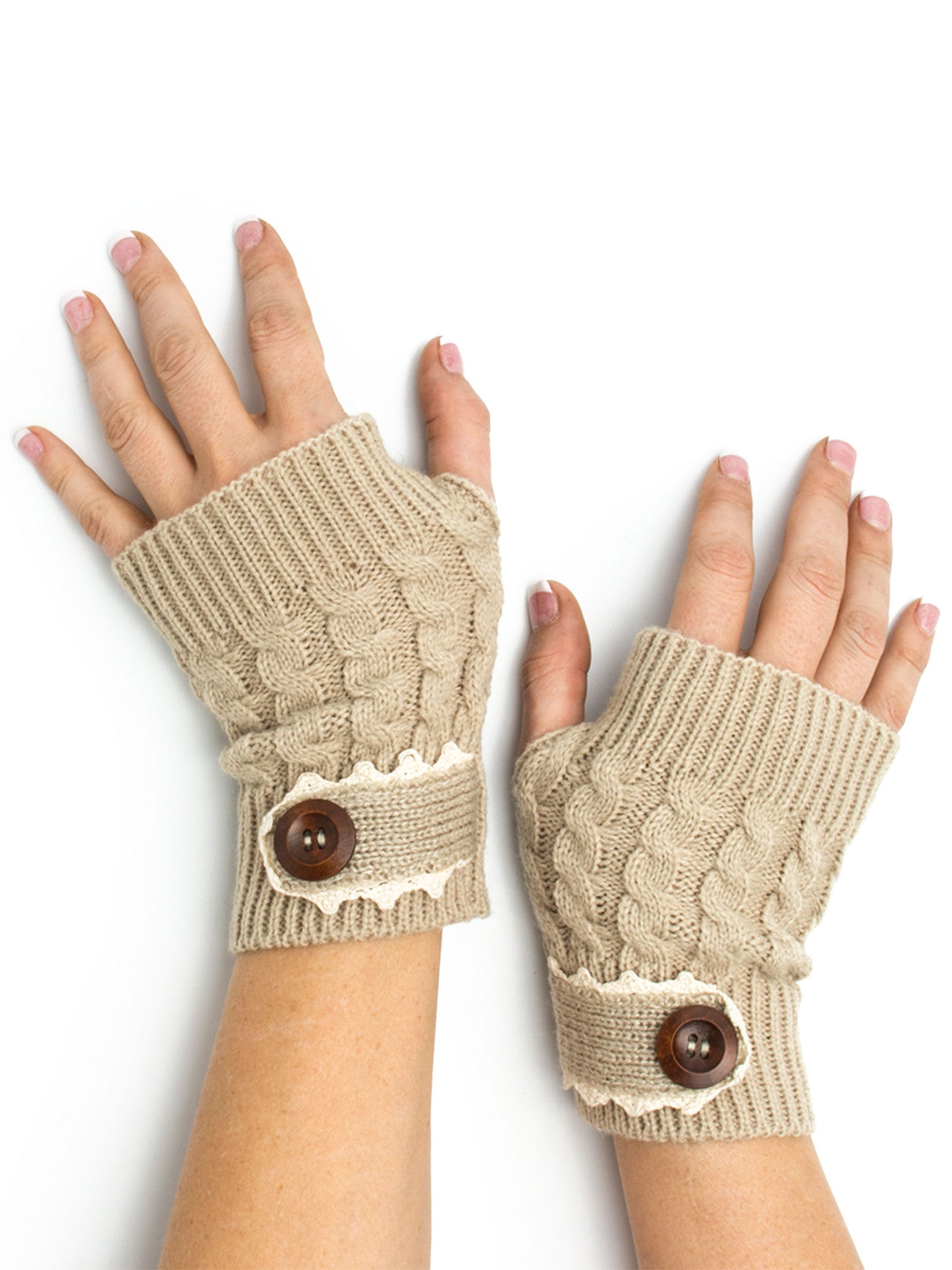 Armwarmers - Tawny Cable Knit Boho Mori Style Armwarmers / Fingerless Gloves with Crochet Lace -(Sand) Bohomonde  - 1