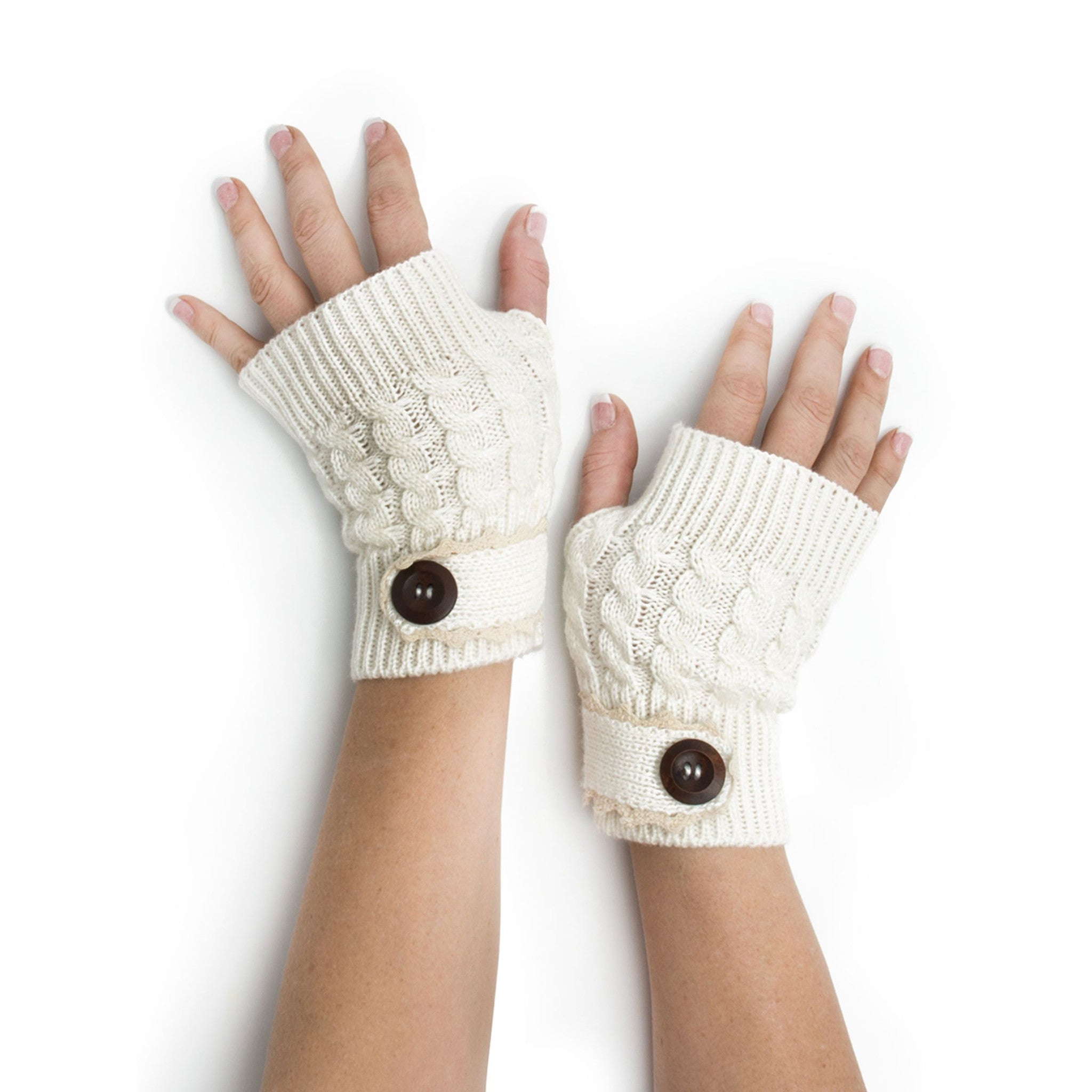 Armwarmers - Tawny Cable Knit Boho Mori Style Armwarmers / Fingerless Gloves with Crochet Lace -(Ivory) Bohomonde  - 5