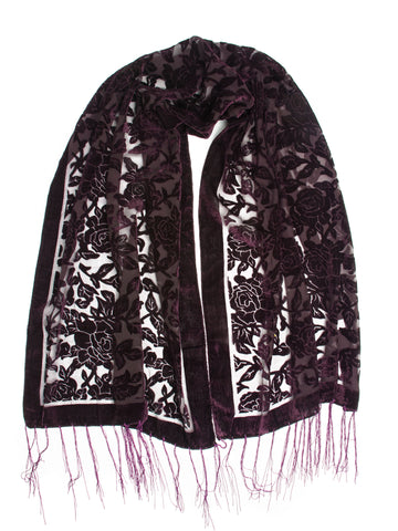 Scarves - Beatrice Scarf, Floral Burnout Fringe Scarf, Rose Print Silk Shawl -(Plum / One Size) Bohomonde  - 1