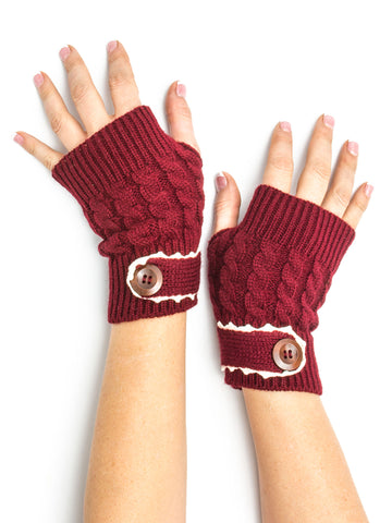 Armwarmers - Tawny Cable Knit Boho Mori Style Armwarmers / Fingerless Gloves with Crochet Lace -(Currant) Bohomonde  - 2
