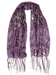 Scarves - Clara Scarf, Delicate Sheer Burnout Paisley Pattern Scarf with Fringe -(Amethyst / One Size) Bohomonde  - 3