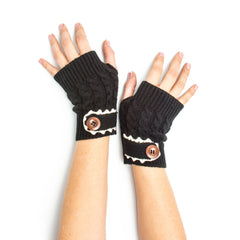 Armwarmers - Tawny Cable Knit Boho Mori Style Armwarmers / Fingerless Gloves with Crochet Lace -(Black) Bohomonde  - 4