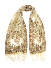 Scarves - Eleanora Scarf. Fringed Sheer Burnout Fleur de Lis Scarf -(Caramel Cream / One Size) Bohomonde  - 1