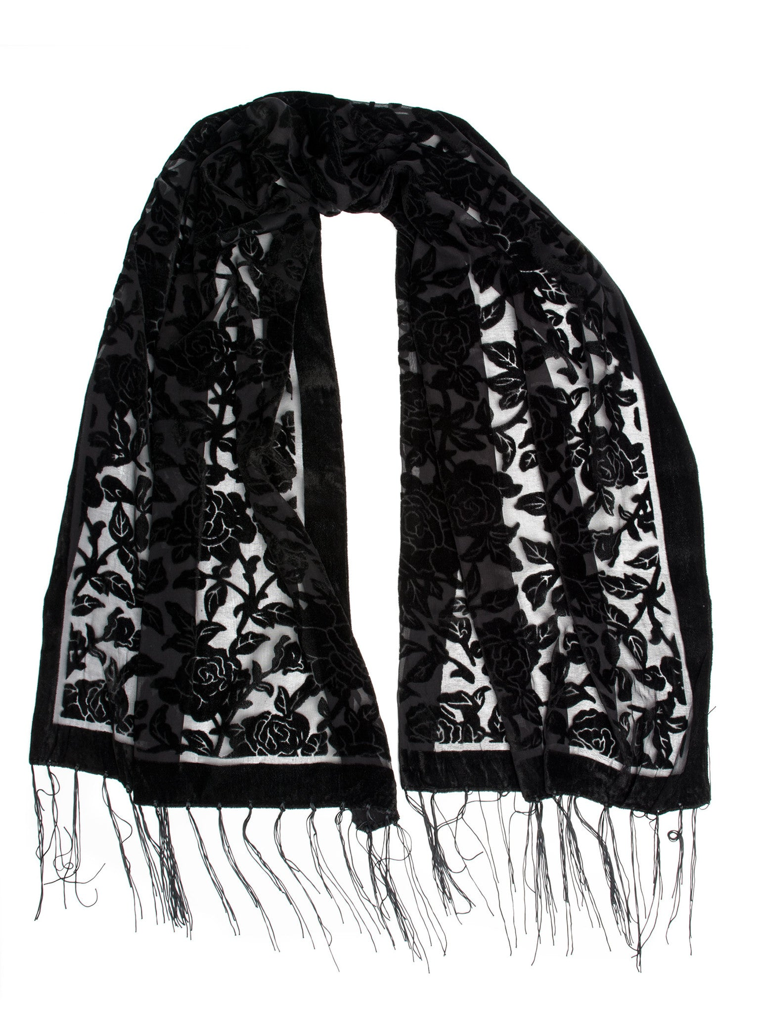 Scarves - Beatrice Scarf, Floral Burnout Fringe Scarf, Rose Print Silk Shawl -(Black / One Size) Bohomonde  - 6