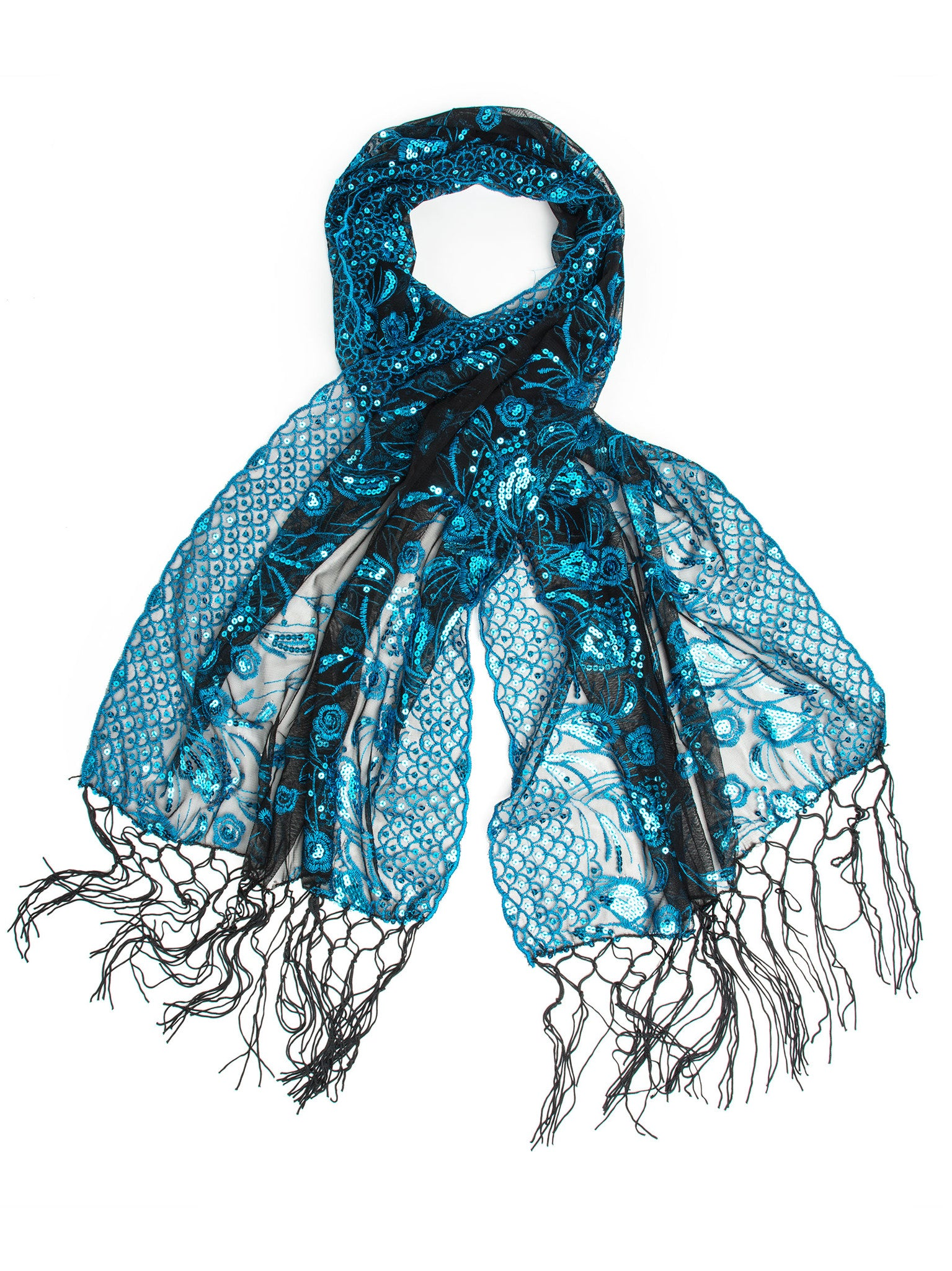 Scarves - Amaryllis Shawl, Vintage Inspired Sequin Evening Wrap, Embroidered Sequin Shawl, Scarf -(Turquoise/Black) Bohomonde  - 3