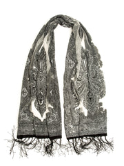 Scarves - Eleanora Scarf. Fringed Sheer Burnout Fleur de Lis Scarf -(White/Gray / One Size) Bohomonde  - 3