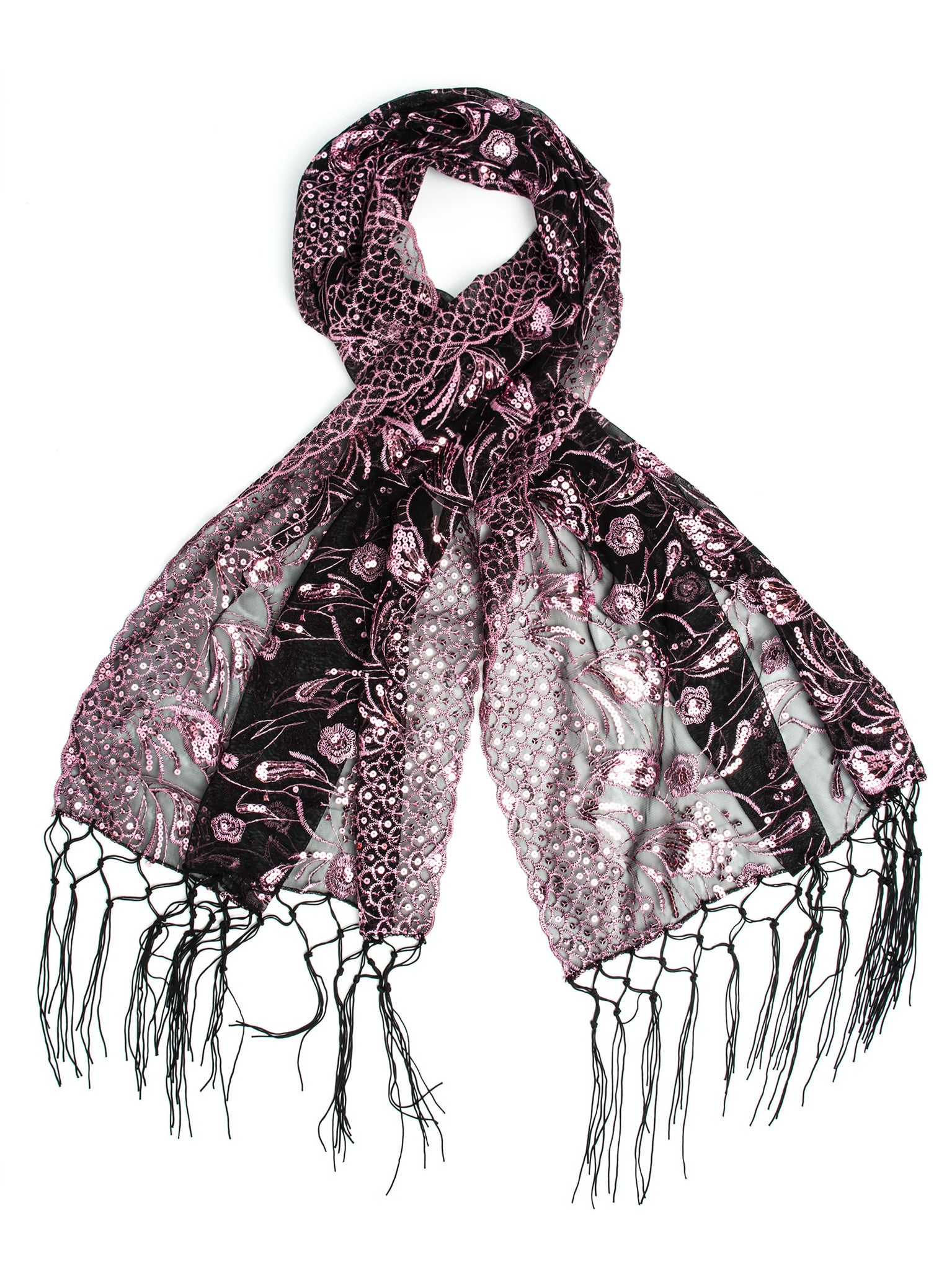 Scarves - Amaryllis Shawl, Vintage Inspired Sequin Evening Wrap, Embroidered Sequin Shawl, Scarf -(Pink/Black) Bohomonde  - 5