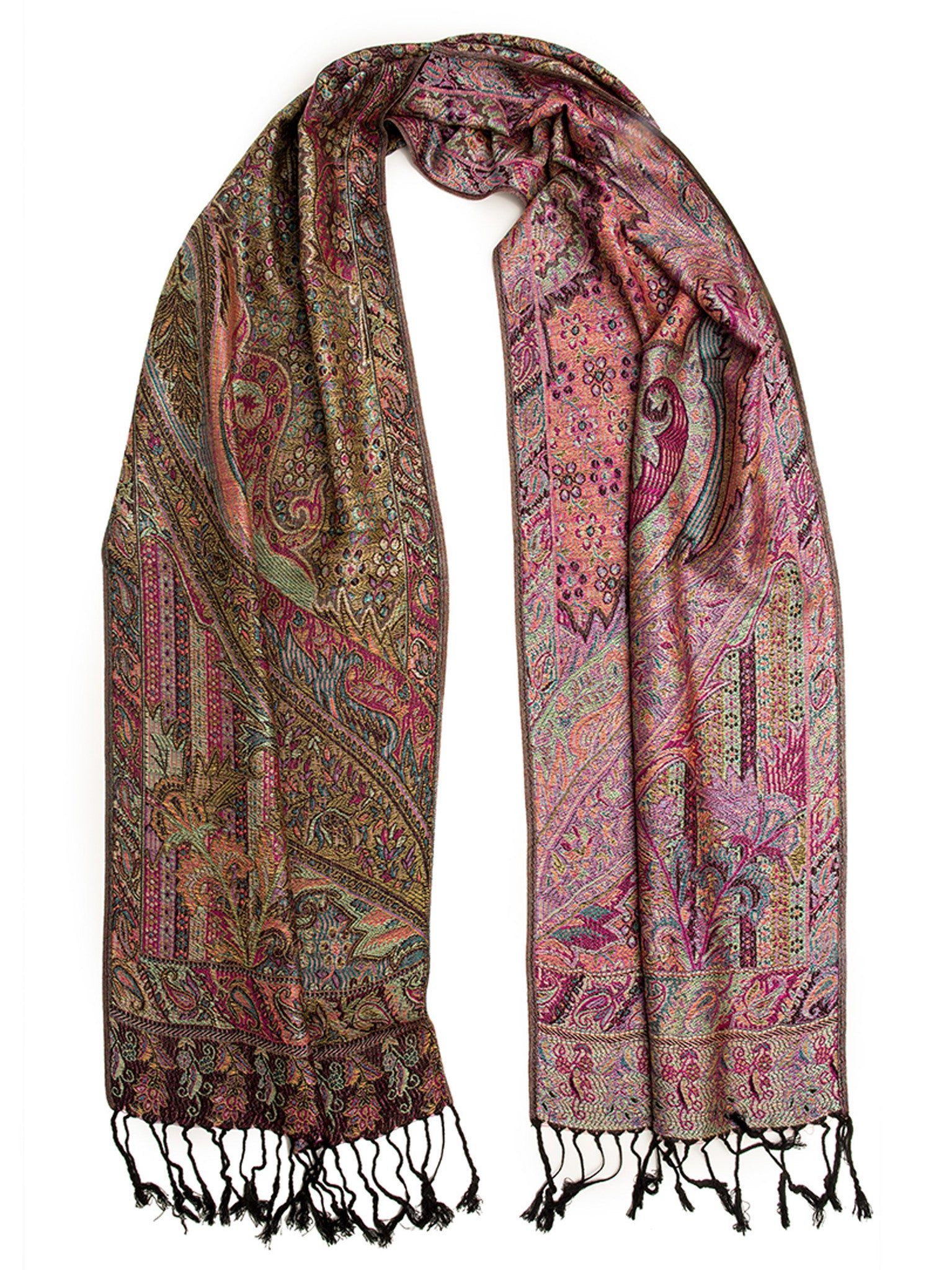 Scarves - Rajana Scarf, Pashmina Indian Paisley Traditional Jacquard Scarf -(Opal / One Size) Bohomonde  - 2