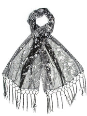 Scarves - Amaryllis Shawl, Vintage Inspired Sequin Evening Wrap, Embroidered Sequin Shawl, Scarf -(Silver/Black) Bohomonde  - 1