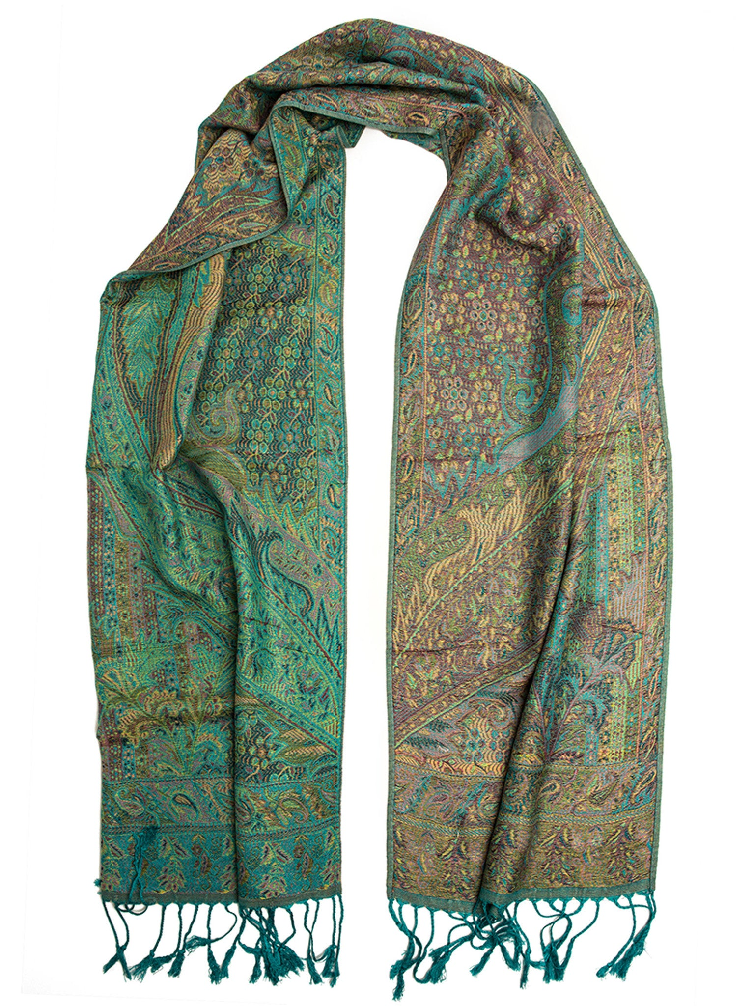 Scarves - Rajana Scarf, Pashmina Indian Paisley Traditional Jacquard Scarf -(Emerald / One Size) Bohomonde  - 4