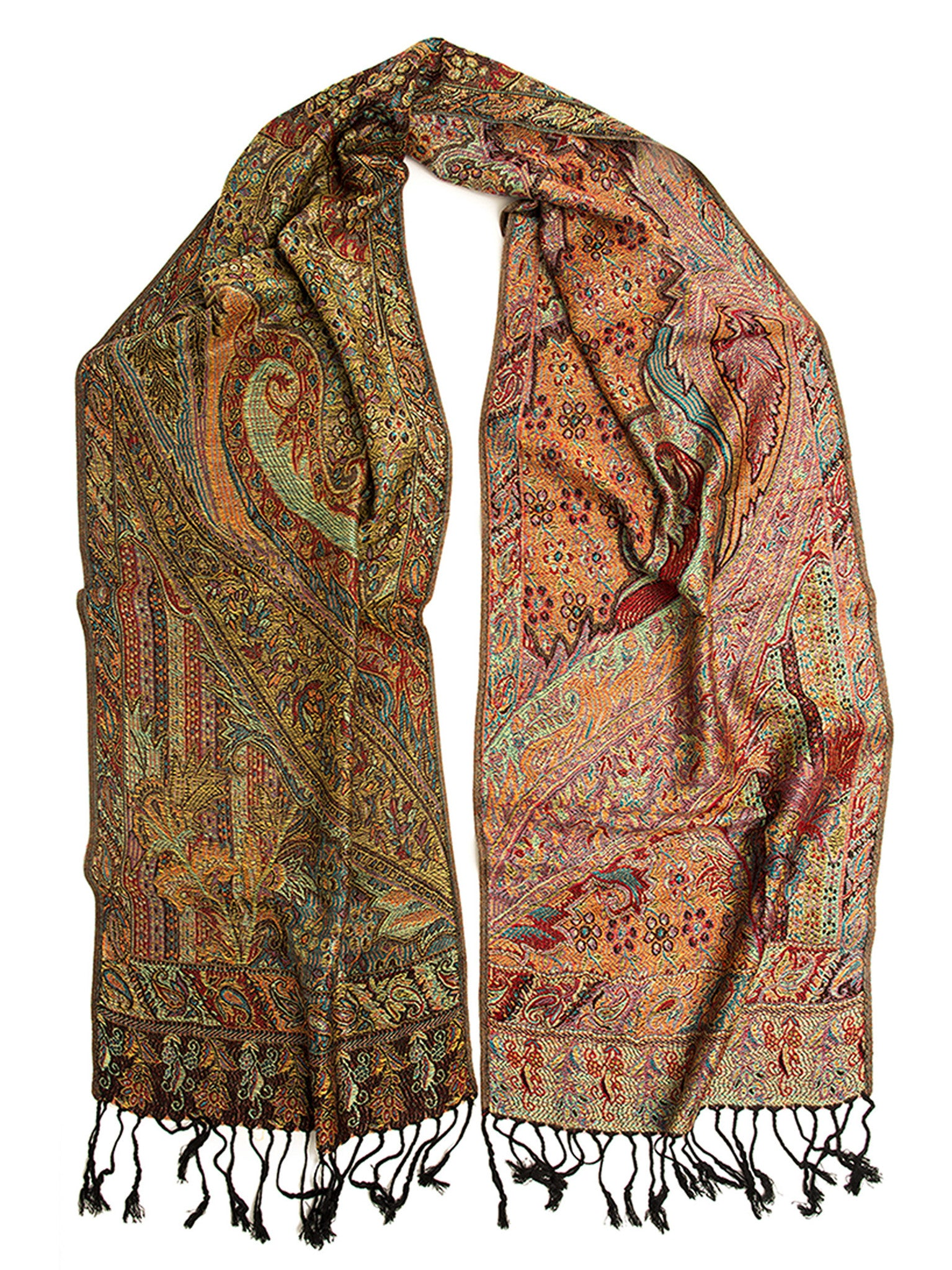Scarves - Rajana Scarf, Pashmina Indian Paisley Traditional Jacquard Scarf -(Palace / One Size) Bohomonde  - 5