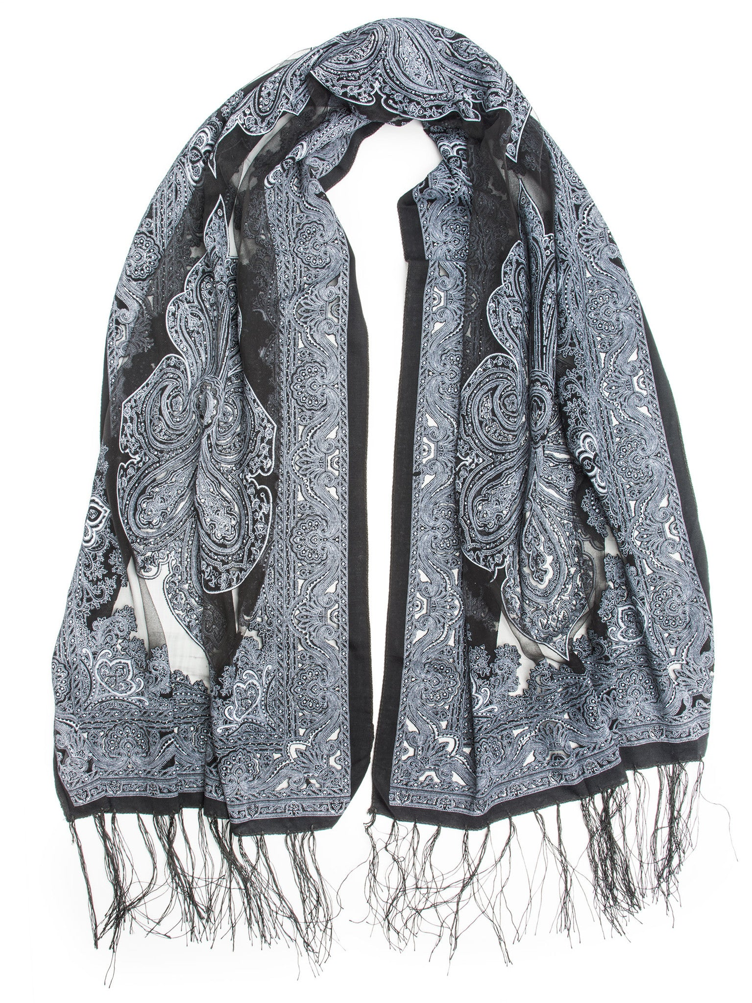 Scarves - Eleanora Scarf. Fringed Sheer Burnout Fleur de Lis Scarf -(Black/Charcoal / One Size) Bohomonde  - 4