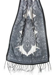 Scarves - Eleanora Scarf. Fringed Sheer Burnout Fleur de Lis Scarf -() Bohomonde  - 6