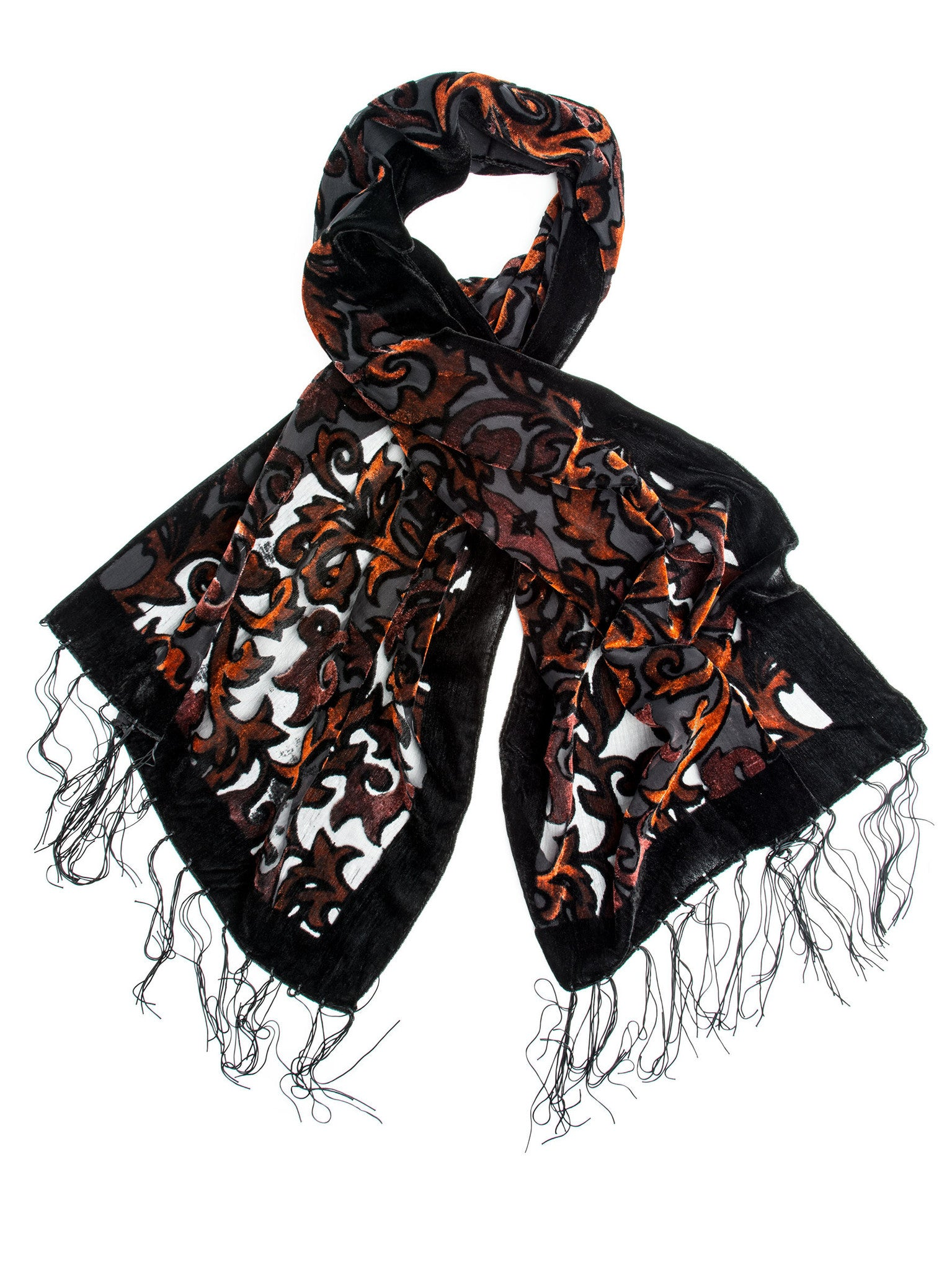 Scarves - Gia Scarf - Silk Brocade Print Velvet Burnout Scarf with Fringe Ends -() Bohomonde  - 5
