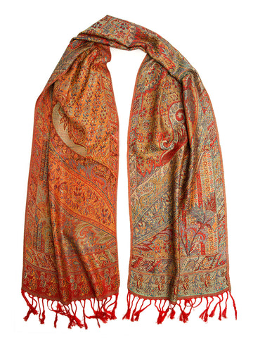 Tiaja Scarf, Pashmina Indian Paisley Traditional Jacquard Scarf - hand made in India