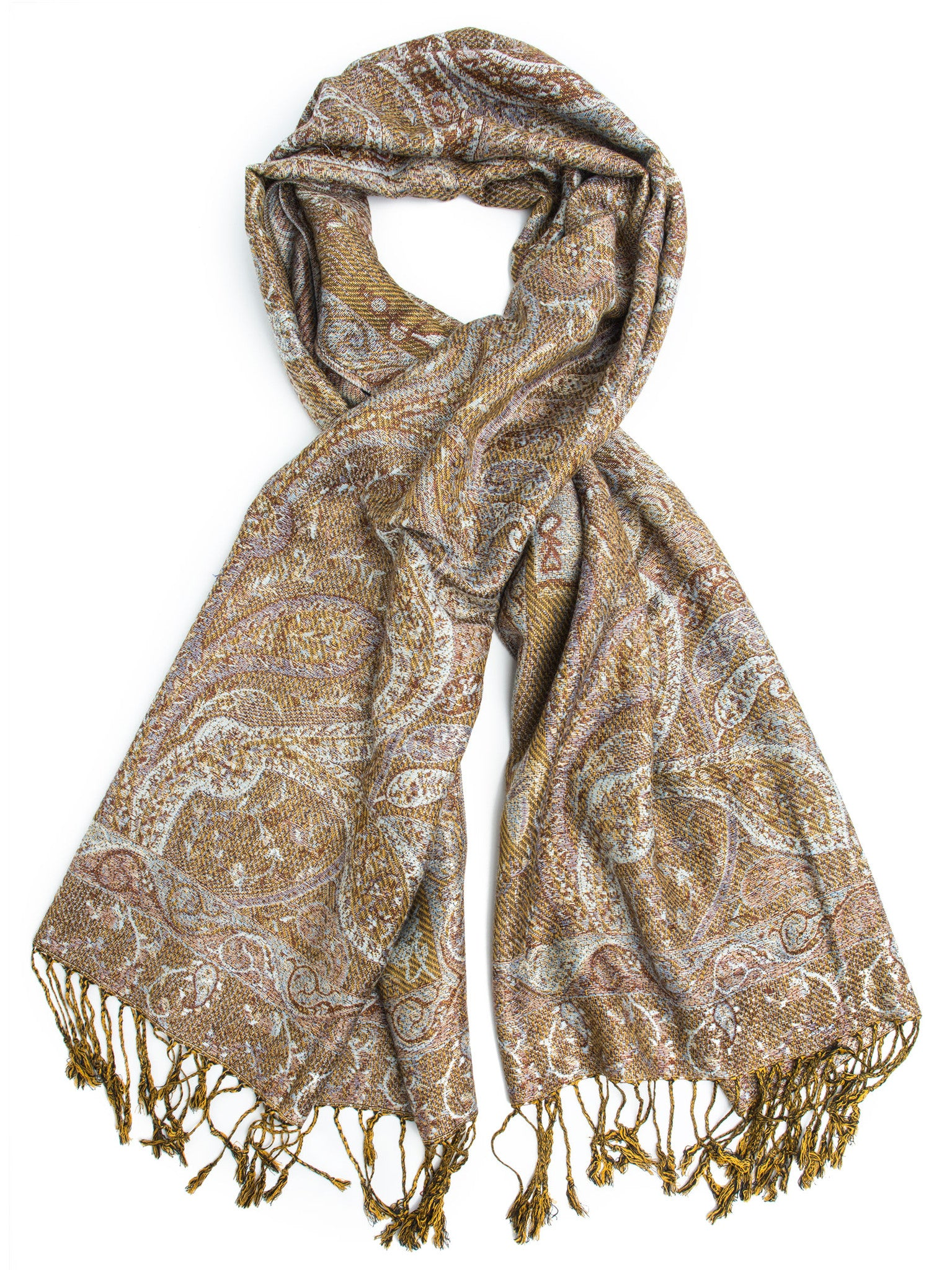 Scarves - Ava Reversible Paisley Pashmina Shawl, Hand Made in India -(Sand/Pale Blue) Bohomonde  - 1