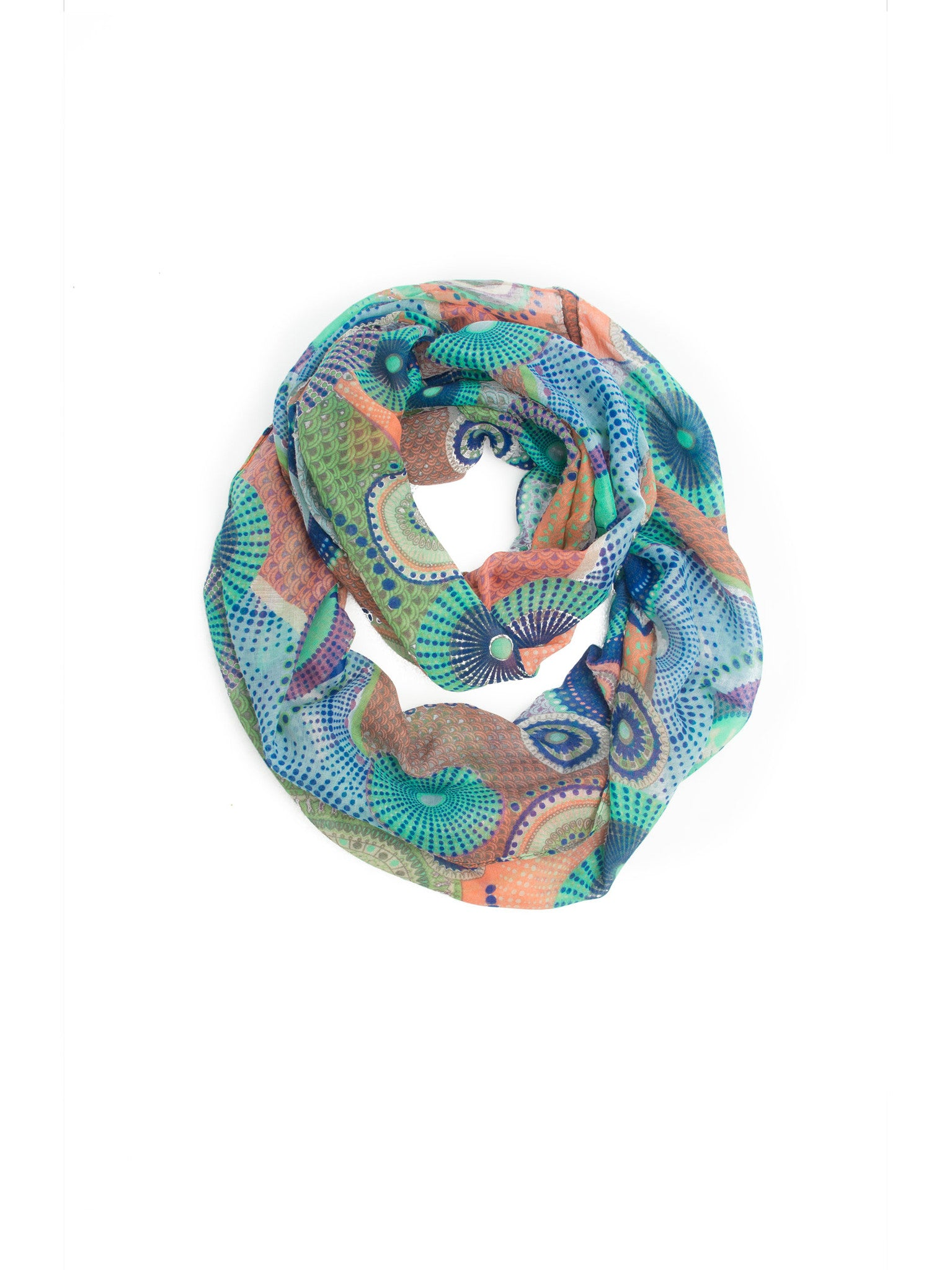 Scarves - Kimiko Infinity Scarf, A Geometric Print Woven Infinity Scarf -(Green/Coral / One Size) Bohomonde  - 14