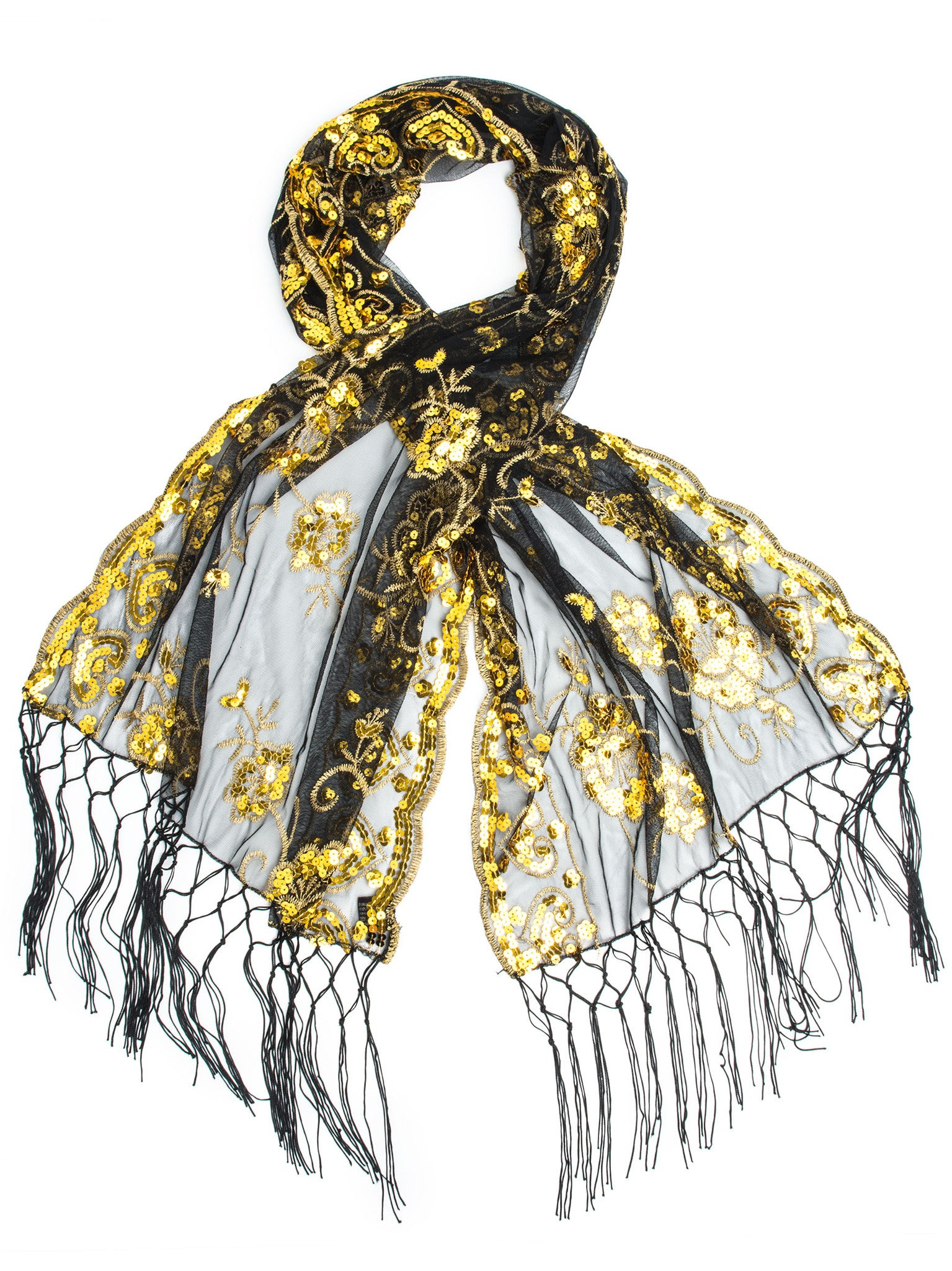 Scarves - Madison Shawl, Long Fringe Sequin Evening Wrap -(Black/Dark Gold / One Size) Bohomonde  - 16