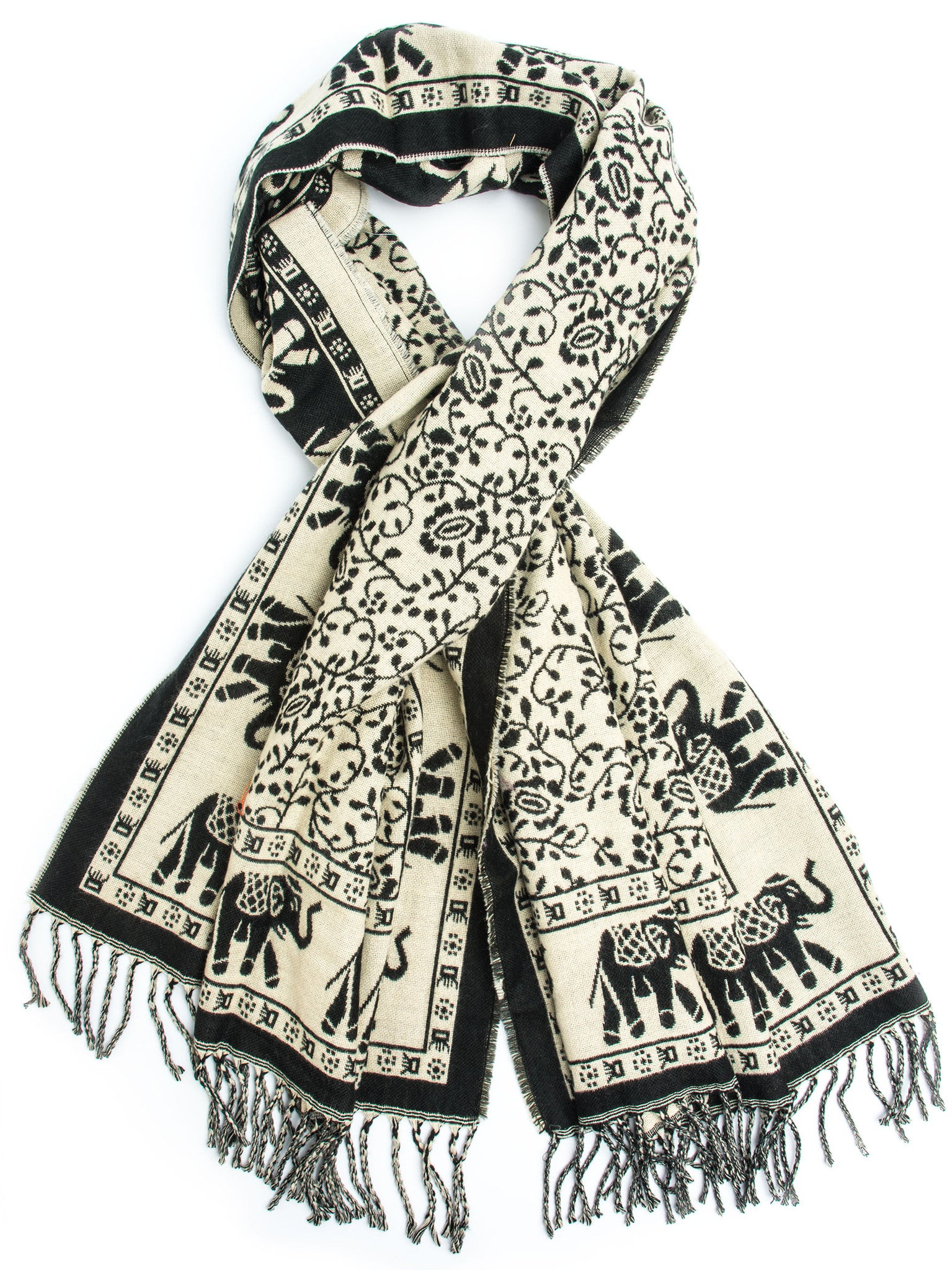 Scarves - Hathi Winter Blanket Scarf, Woven Indian Elephant Design -(Black/Cream) Bohomonde  - 1