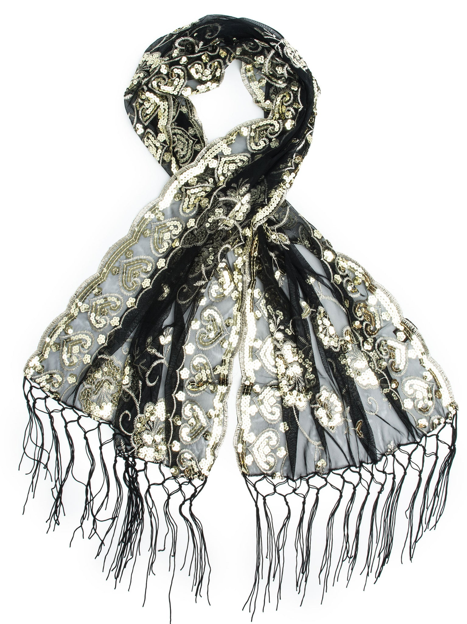 Scarves - Madison Shawl, Long Fringe Sequin Evening Wrap -(Black/Light Gold / One Size) Bohomonde  - 1