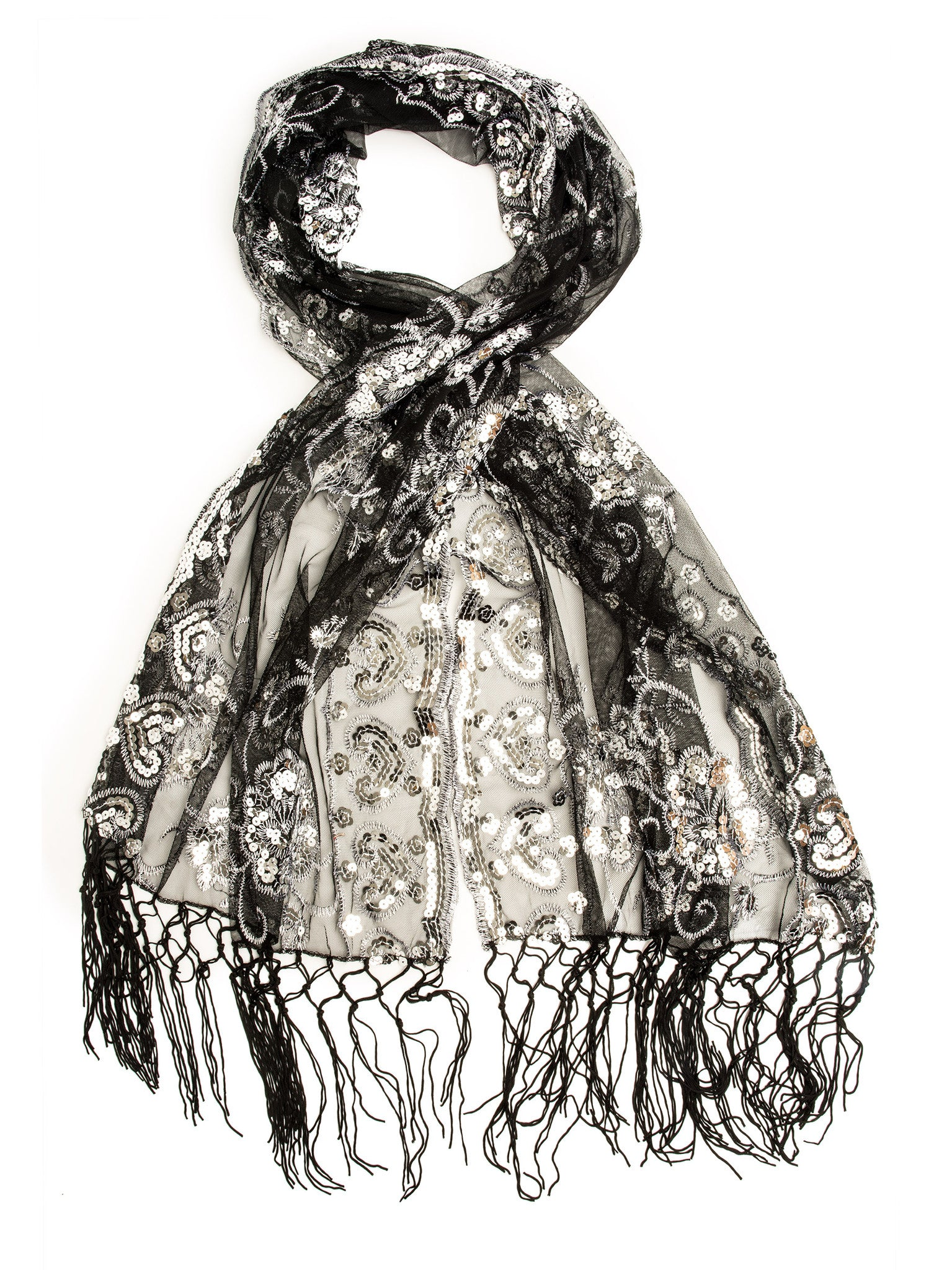Scarves - Madison Shawl, Long Fringe Sequin Evening Wrap -(Black/Silver / One Size) Bohomonde  - 14