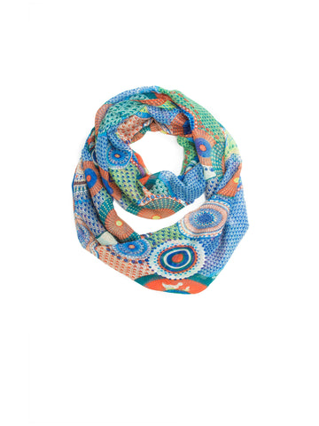 Scarves - Kimiko Infinity Scarf, A Geometric Print Woven Infinity Scarf -(Lime/Blue / One Size) Bohomonde  - 2