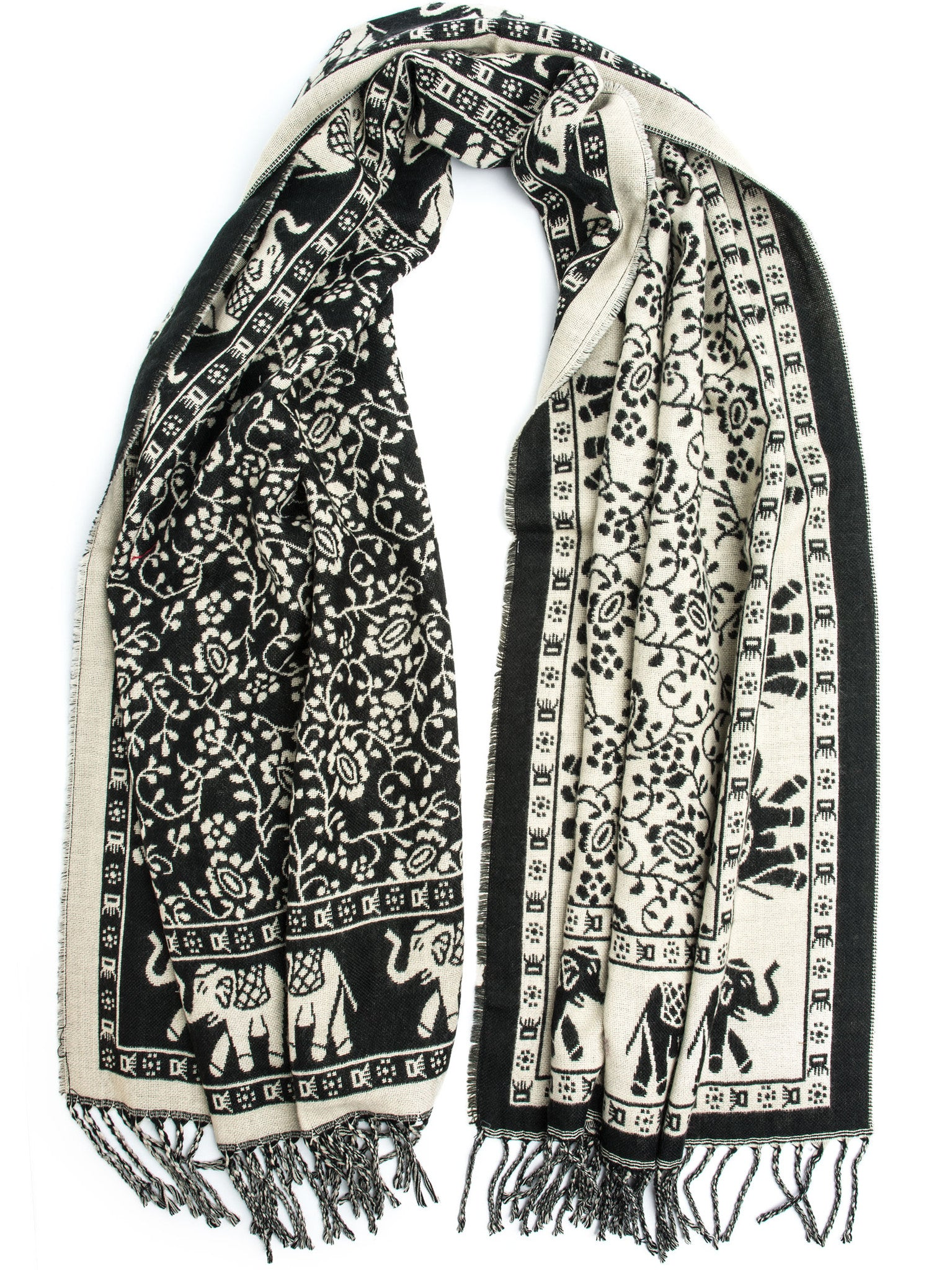 Scarves - Hathi Winter Blanket Scarf, Woven Indian Elephant Design -() Bohomonde  - 4