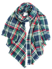 Scarves - Carrie, Oversize Plaid Blanket Scarf, Soft Warm Winter Scarf or Shawl -() Bohomonde  - 4