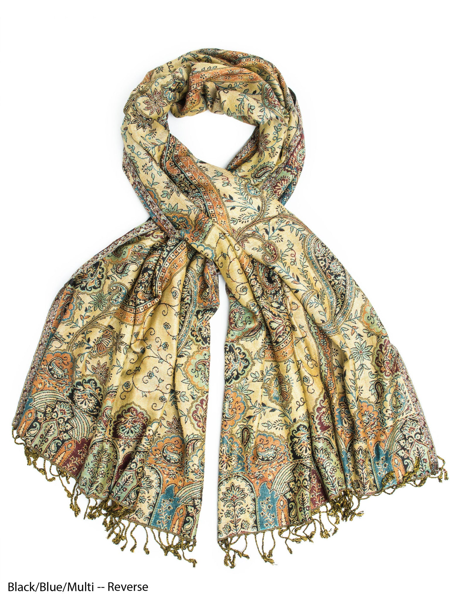 Scarves - Hana Reversible Cashmere Silk Pashmina Scarf, hand made in India -() Bohomonde  - 4