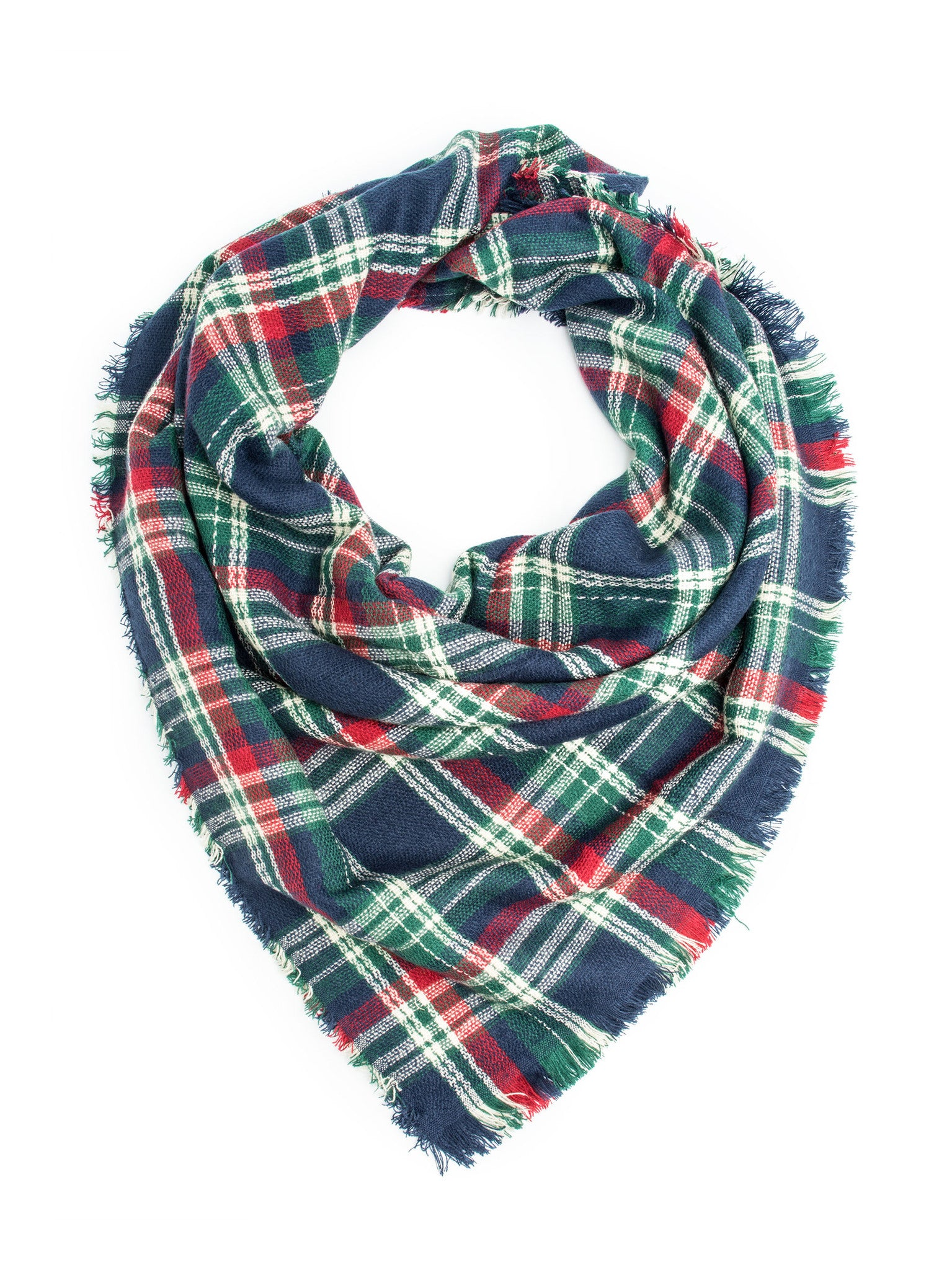 Scarves - Carrie, Oversize Plaid Blanket Scarf, Soft Warm Winter Scarf or Shawl -(Navy/Green/Red) Bohomonde  - 3