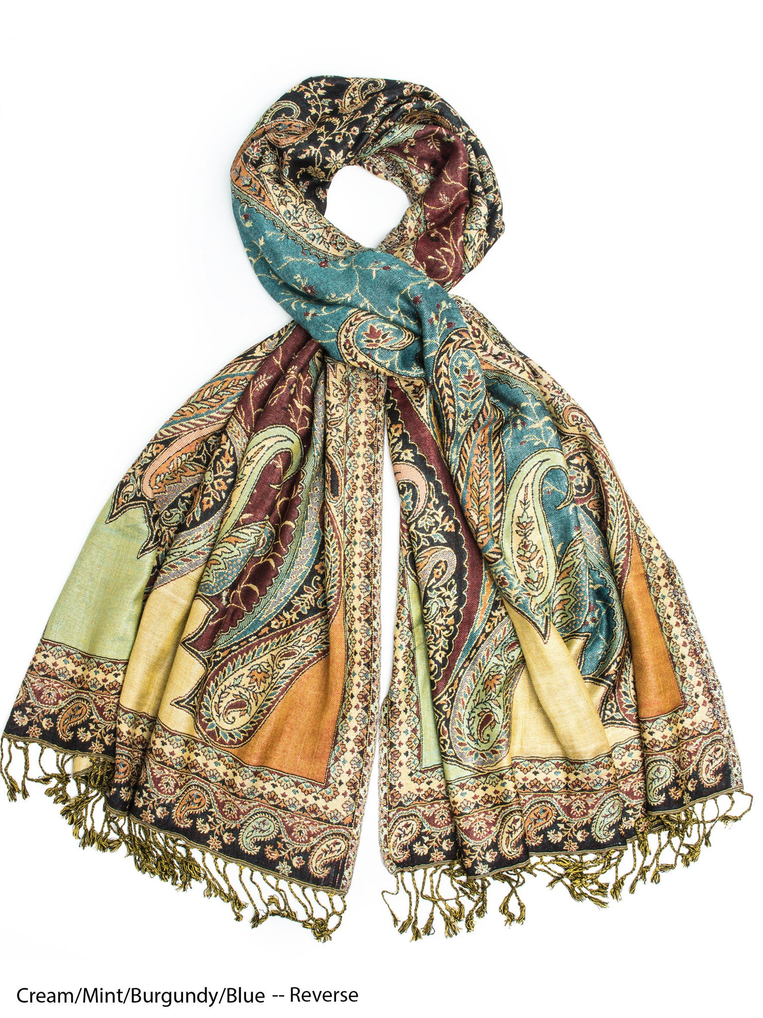 Scarves - Hana Reversible Cashmere Silk Pashmina Scarf, hand made in India -() Bohomonde  - 9