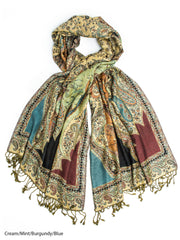 Scarves - Hana Reversible Cashmere Silk Pashmina Scarf, hand made in India -(Cream/Mint/Burgundy/Blue) Bohomonde  - 8