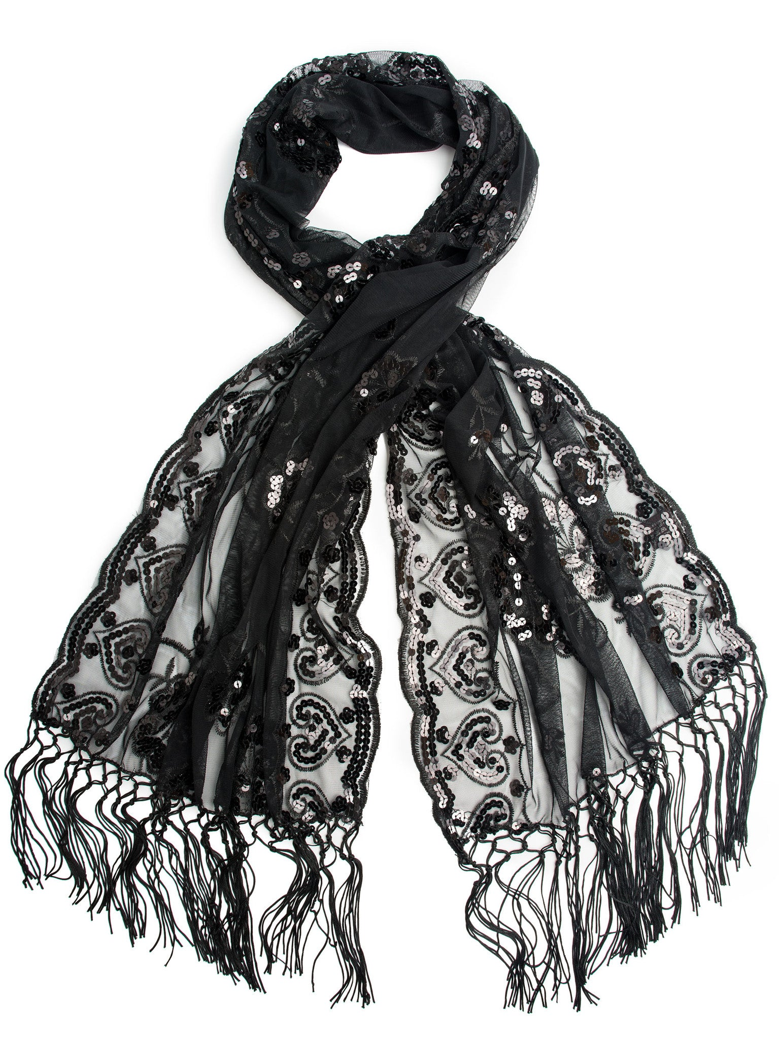 Scarves - Madison Shawl, Long Fringe Sequin Evening Wrap -(Black/Blacks / One Size) Bohomonde  - 3