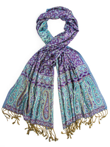 Scarves - Bhayana Reversible Cashmere Silk Pashmina Scarf, hand made in India -(Purple/Turquoise) Bohomonde  - 1