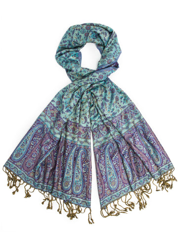 Scarves - Bhayana Reversible Cashmere Silk Pashmina Scarf, hand made in India -() Bohomonde  - 2