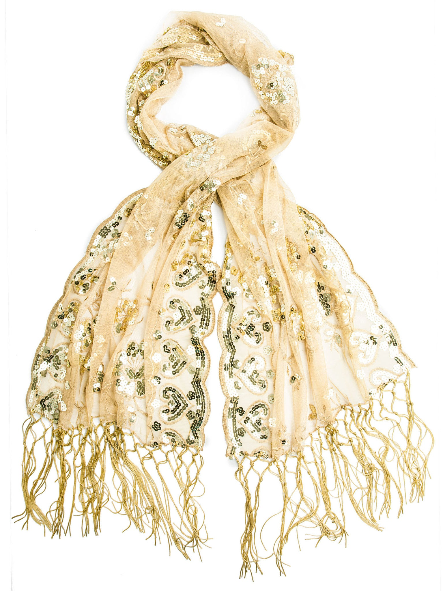 Scarves - Madison Shawl, Long Fringe Sequin Evening Wrap -(Gold/Gold / One Size) Bohomonde  - 18