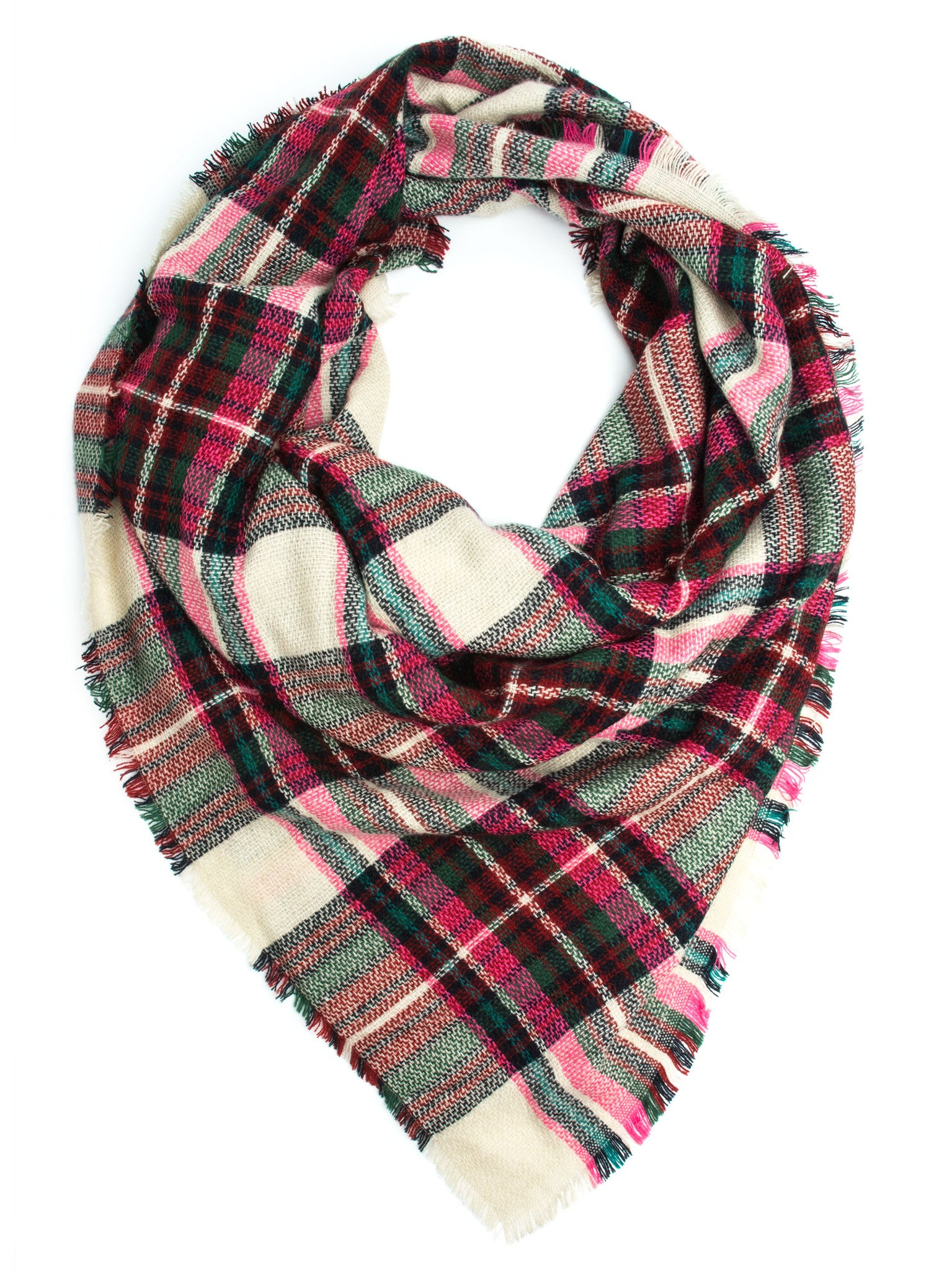 Scarves - Maddie Plaid Blanket Scarf or Shawl, Winter Scarf -(Hot Pink/Eggshell) Bohomonde  - 1