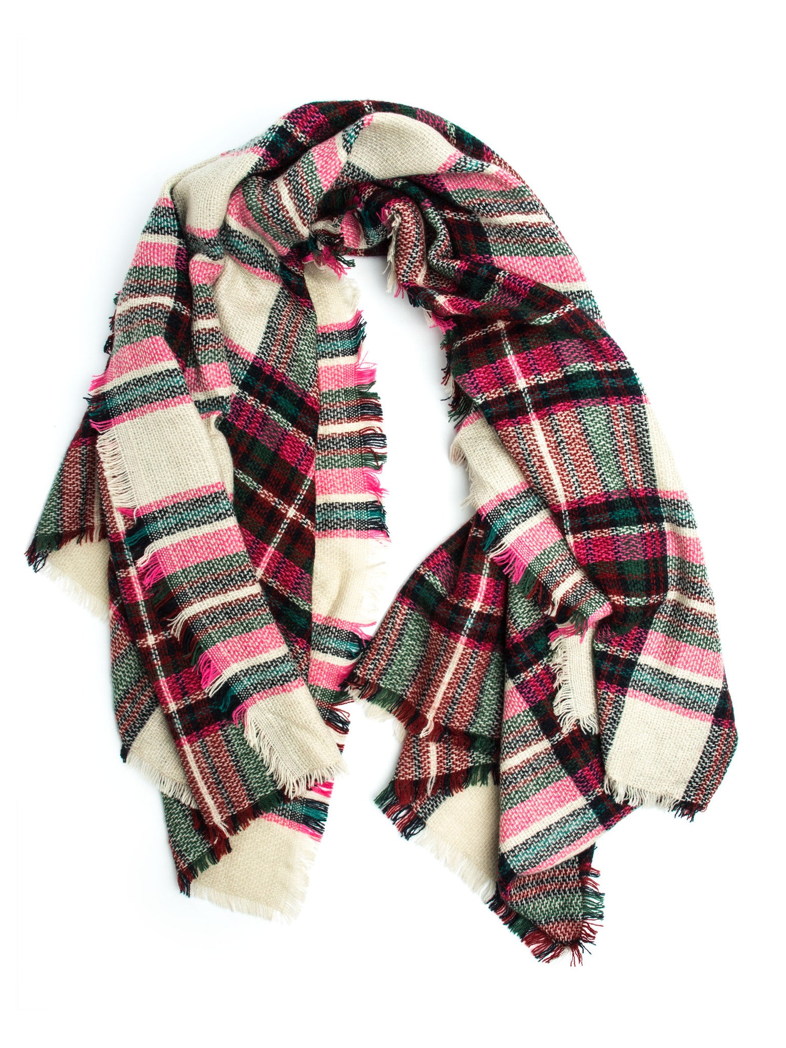 Scarves - Maddie Plaid Blanket Scarf or Shawl, Winter Scarf -() Bohomonde  - 2