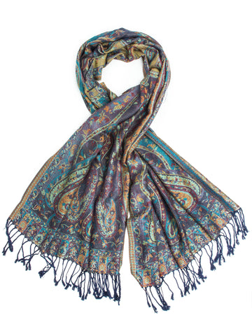Scarves - Jyati Scarf, Pashmina Indian Paisley Traditional Jacquard Scarf - hand made in India -(Periwinkle) Bohomonde  - 1