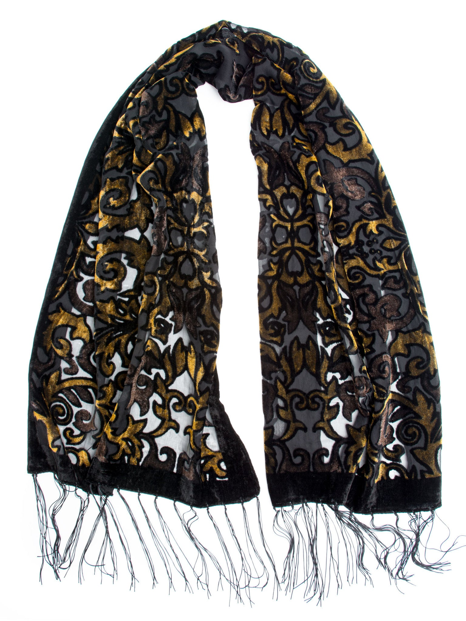 Scarves - Gia Scarf - Silk Brocade Print Velvet Burnout Scarf with Fringe Ends -(Gold/Chocolate/Black) Bohomonde  - 6