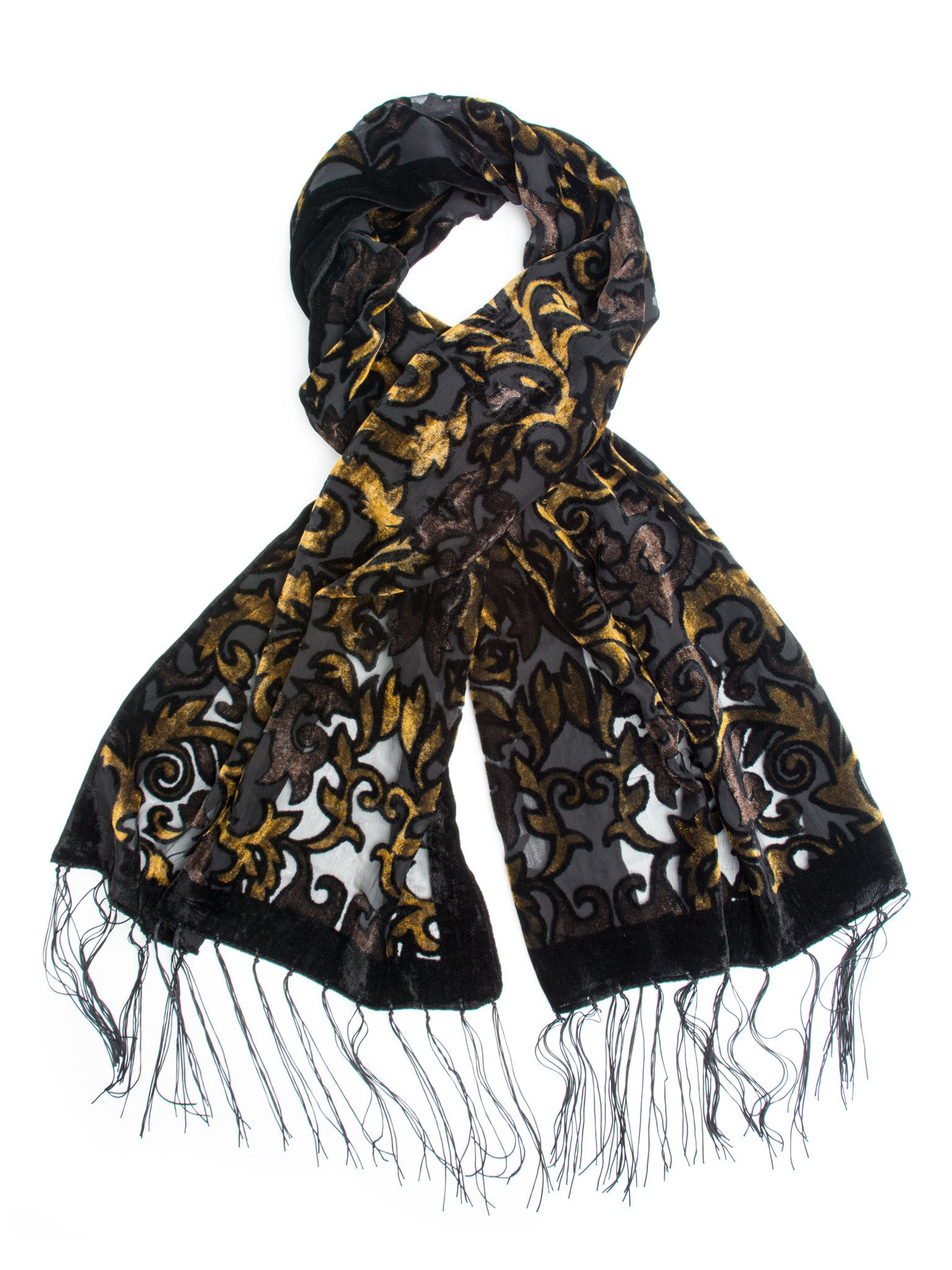 Scarves - Gia Scarf - Silk Brocade Print Velvet Burnout Scarf with Fringe Ends -() Bohomonde  - 7