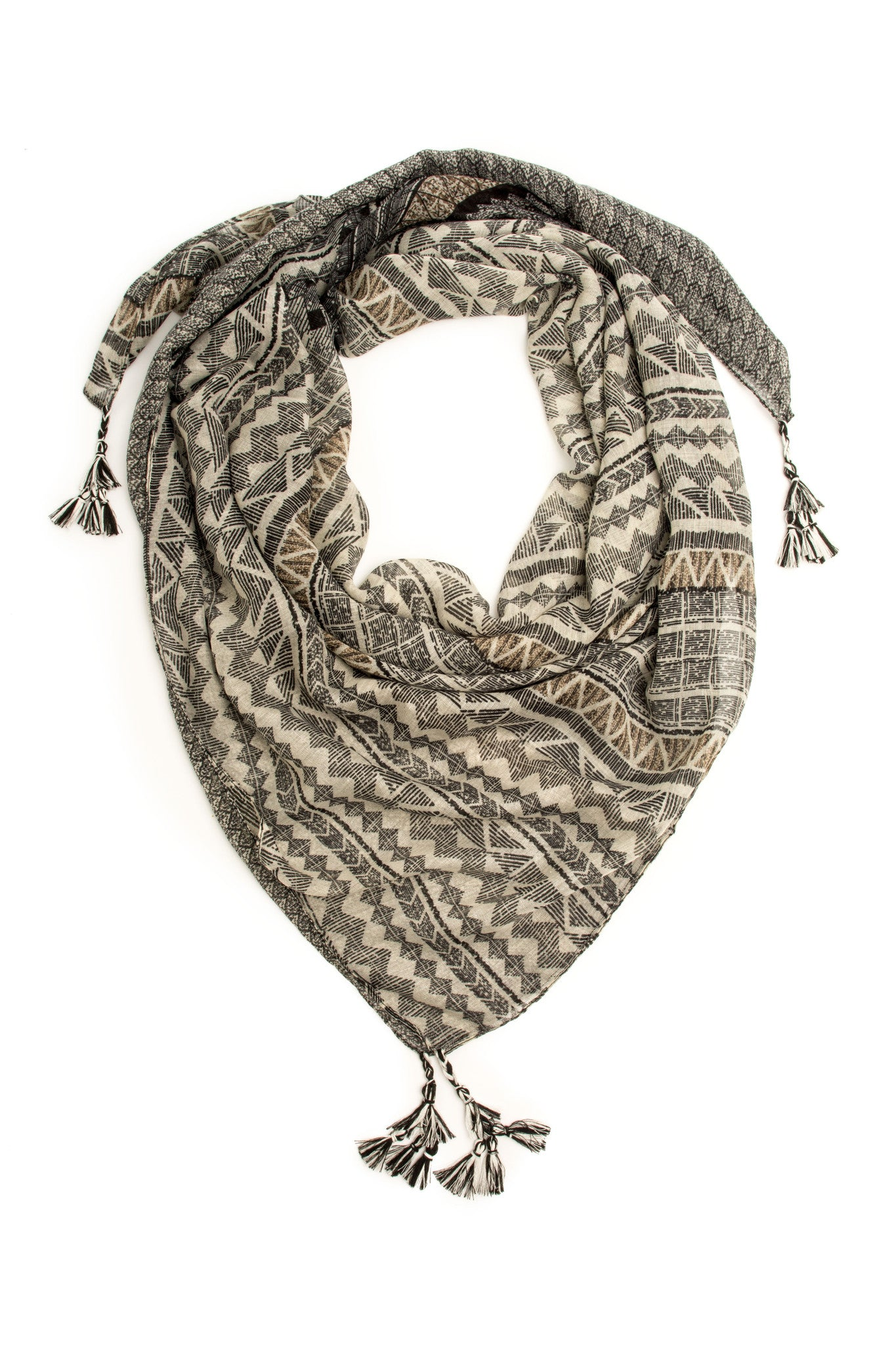 Scarves - Zuma Boho Square Scarf, Tribal Tassel Scarf -(Black/Gray) Bohomonde  - 3