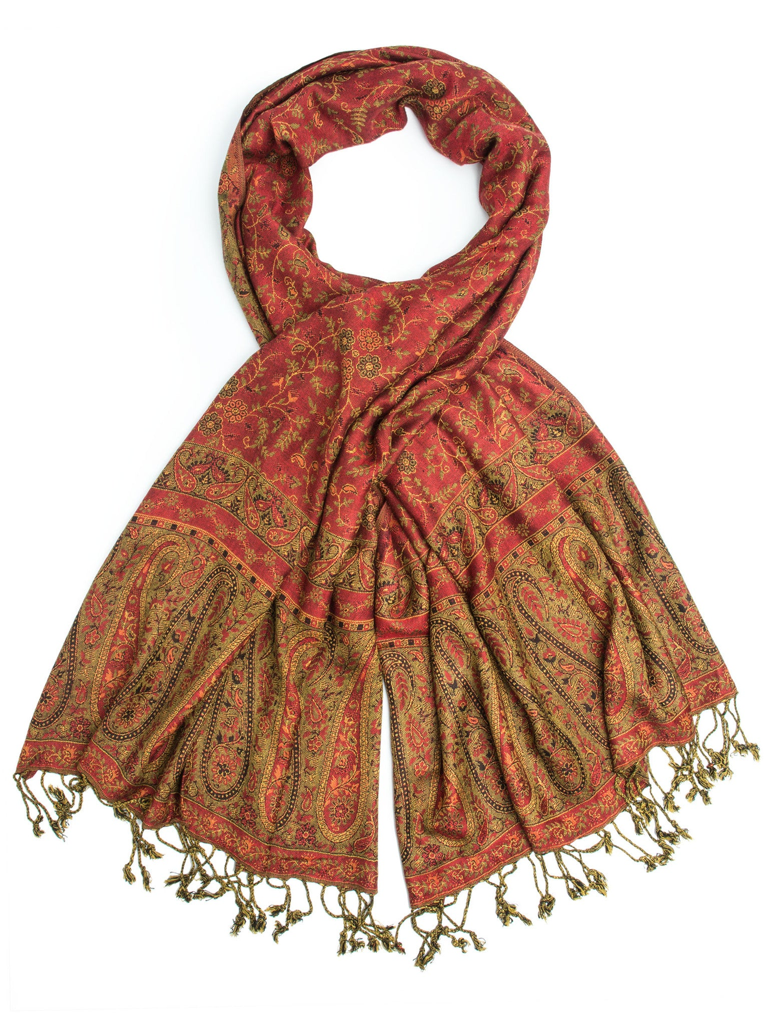 Scarves - Bhayana Reversible Cashmere Silk Pashmina Scarf, hand made in India -(Red/Olive) Bohomonde  - 3