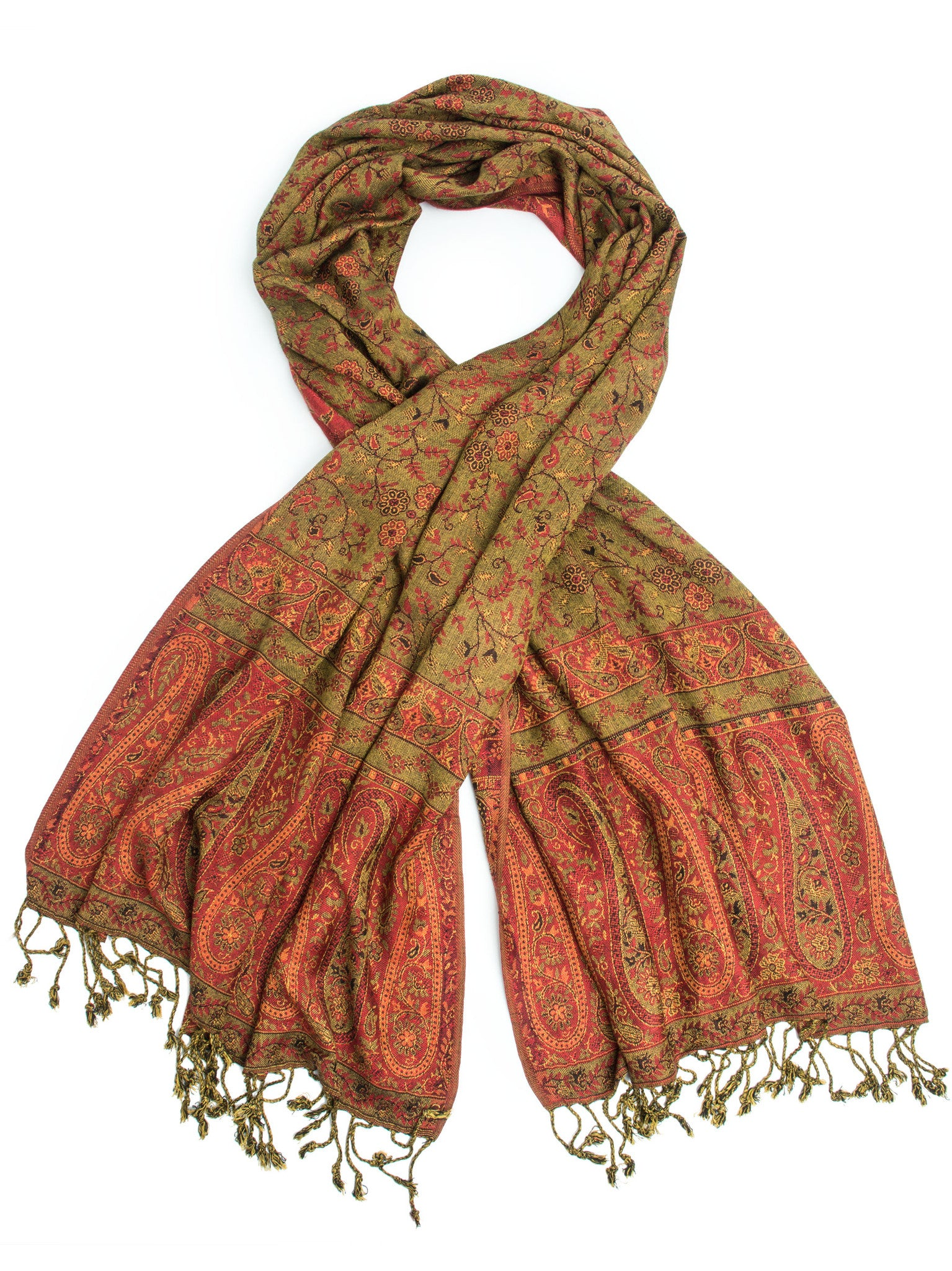Scarves - Bhayana Reversible Cashmere Silk Pashmina Scarf, hand made in India -() Bohomonde  - 4