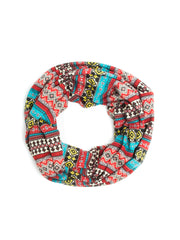 Scarves - Hadley Soft Jersey Knit Aztec Print Infinity Scarf -(Red/Turquoise) Bohomonde  - 4
