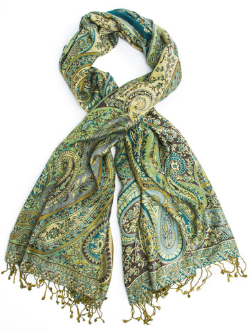Scarves - Jada Cashmere Silk Pashmina Scarf, Hand Made in India -(Moss/Teal/Brown) Bohomonde  - 1
