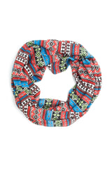 Scarves - Hadley Soft Jersey Knit Aztec Print Infinity Scarf -(Red/Blue/Lime) Bohomonde  - 5