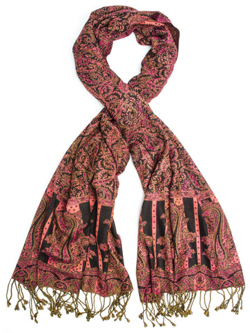 Scarves - Prema, Reversible Cashmere Silk Pashmina Scarf, hand made in India -(Ruby) Bohomonde  - 1